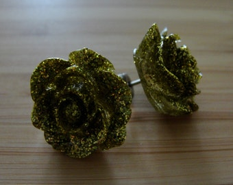 Large Gold Glitter Flower Earrings