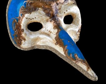 Venetian Mask Zanni Blue Craquelé