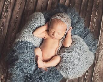 Smoky Blue Mongolian Faux Fur Prop, Newborn Baby Photo Prop, Curly Blue Faux Fur, Fuzzy Layering Blanket.