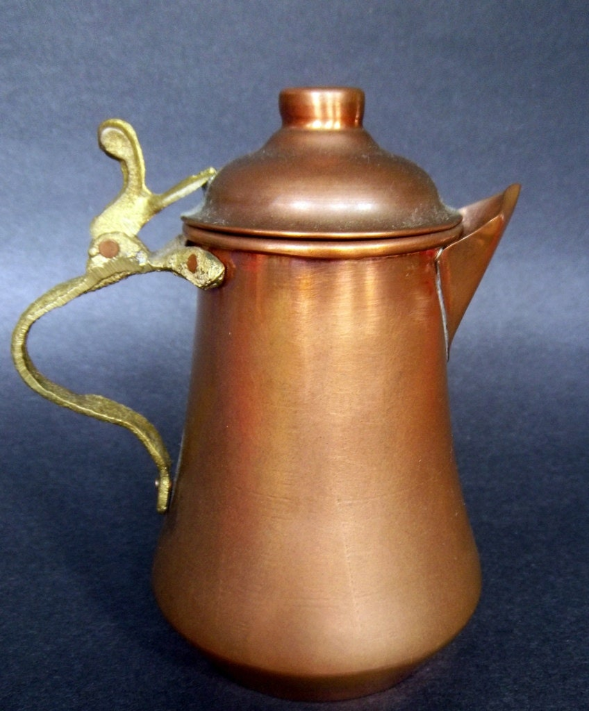 Copper coffee pot antique hand forged hammered brass handle