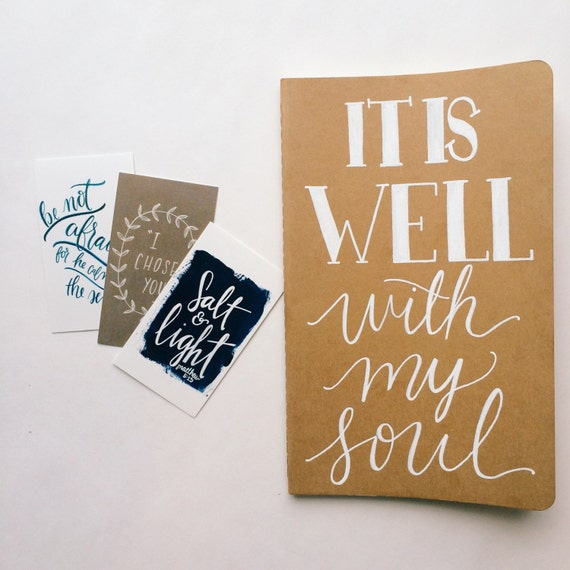 It is well with my soul prayer journal, hand lettered on moleskine notebook, scripture gift, personalized gift