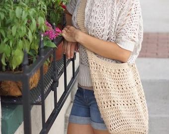 Crocheted Bag, Tan Beach Bag, Cross Body Bag, Crocheted Market Bag, Tan Bag, Gifts under 50.00,