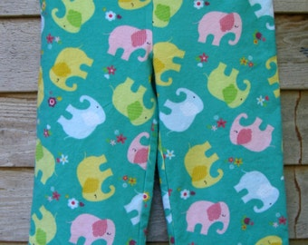 Elephant flannel pajama pants, Kids pajamas, Lounge Pants, Kids Sleepwear, Ribbon Drawstring, Handmade, Size 3-4.