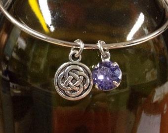 Design Your Own Celtic St. Patrick's Day Swarovski Crystal Expandable Silver Bangle Bracelet (shown: purple Swarovski Crystal Celtic Knot)