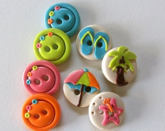 Beach Buttons ~ Set of 8