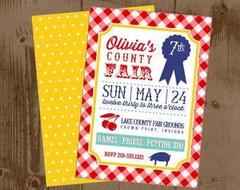 Summer County Fair - Printable Invitation - Birthday - Red Yellow Blue - prize ribbon - petting zoo - state fair - country - carnival