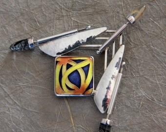 Cloisonne Enamel Abstract Rocket Pin
