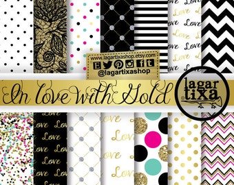 Gold, Turquoise, Hot Pink, Black, White, Digital Paper, Backgrounds, Patterns, Glitter Large dots, Lace, Scrapbooking Blog invitations
