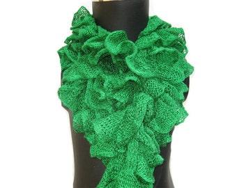 SALE! was 15 USD now.......Fashion scarf, ruffle scarf, knit scarf,  green scarf, floral scarf, long scarf, crochet scarf. Gift ideas.