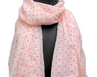 White and peach scarf/ polka dots scarf in terry cotton/ large scarf.