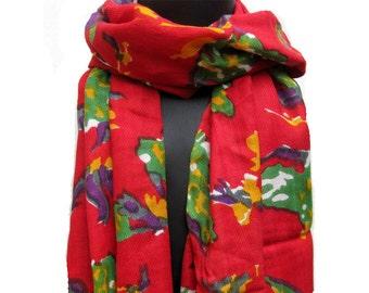 Multicolored scarf/ longl scarf/ leaf print  scarf / red scarf/ /  gift ideas.