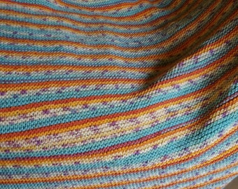 Knitted Blanket  DK suitable for Cot, Pram or as a Throw ~ Random coloured Stripes of Orange, Yellow, Blue
