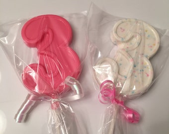 Number 3 Chocolate Lollipops