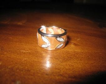 Silver Plate 10mm Orange Enamel CZ Bang Ring L 1/2=6 (230)