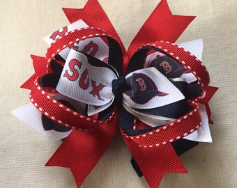 2 Boston Red Sox Hairbows