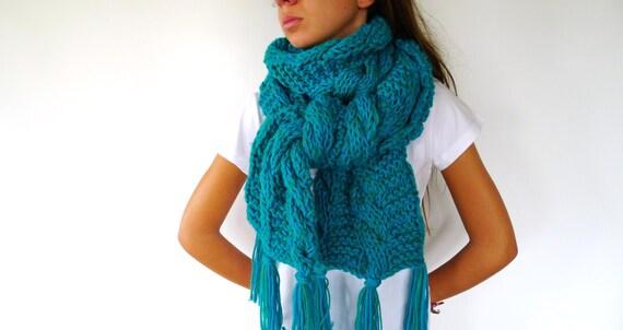 Bufanda original hecha a mano. Bufanda de lana para mujer. Bufandas gruesas. Bufandas