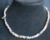 Beaded Choker Necklace Vintage Multicolor