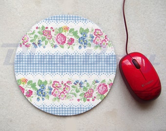 Flower Stripes Mousepad, Office Mousepad, Computer Mouse Pad, Fabric Mousepad