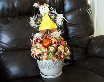 Mrs. Scarecrow Autumn/Scarecrow Ribbon Topiary Centerpiece