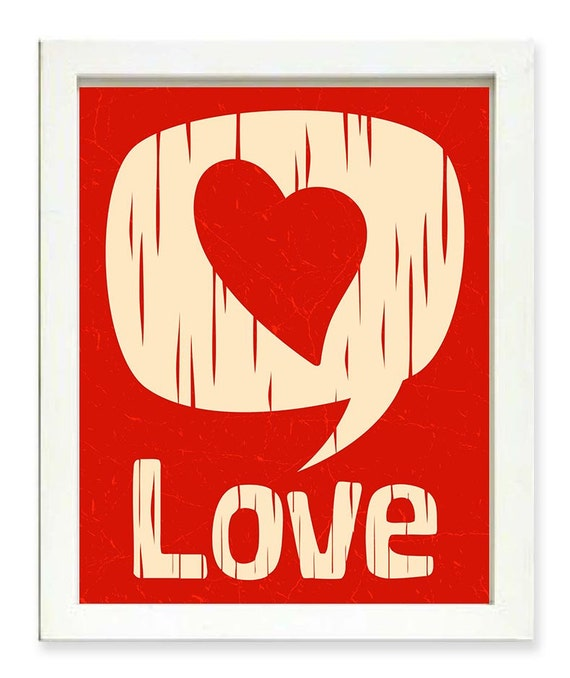 Red Love Wall Decor : Love art print white red heart wood grain home wall decor
