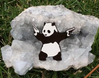 Banksy Panda with Guns Pin