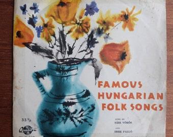 """Famous Hungarian Folk Songs of the songs of I. Dankó_10"""" (33 rpm) vinyl"""