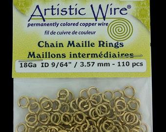 """Artistic Wire Tarnish Resistant Brass Jump Ring 3.5mm ID (9/64"""") 18ga (900AWR-04)"""