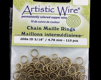 """Artistic Wire Tarnish Resistant Brass Jump Ring 4.7mm ID (3/16"""") 20ga (900AWR-17)"""