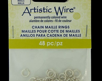 """Artistic Wire Weave Silver Color Jump Ring 4.3mm ID (11/64"""") 18ga (900AWSW-06)"""