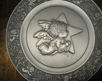 Collectors Angel Pewter Plate.