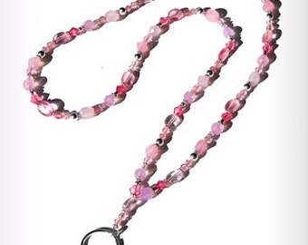 Lanyards 32 inch Breast Cancer Awareness Pink Beads