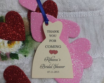 "Personalized Favor Tags 2.5"", Bridal Shower tags, Thank You tags, Favor tags, Gift tags, Bridal gown"