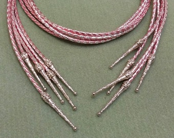 Bolo Tie Cord, Metallic Pink and  Silver  Color, 40 inches long with Bolo tips BTCWT95