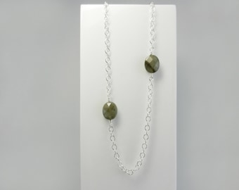 Labradorite Necklace ~ Facetted Labradorite ~ Silver Necklace ~ Wire Wrapped Silver