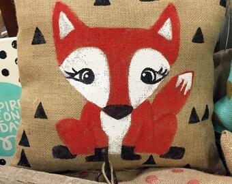 Red Fox Burlap 14 x 14 Pillow