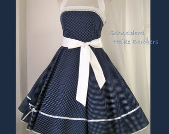Petticoat dress-Gilda-in blue with white dots
