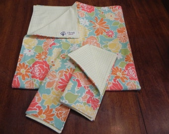 Spring Mix Flowers Blanket/Receiving Blanket Set