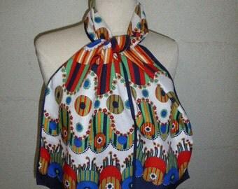 SCARF VINTAGE 1970 original multicolored scarf