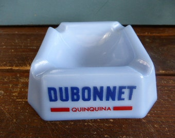 Advertising ASHTRAY for DUBONNET QUINQUINA, french bistro atmosphere, glass, opalin, blue, vintage 1950/1960