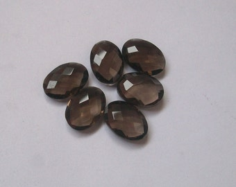 10x14 mm  PAIR oval natural genuine SMOKEY QUARTZ Briolette faceted gemstone.....