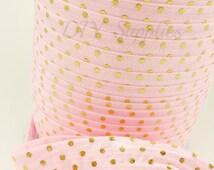 Pink and gold polka dots metallic fold over elastic, Printed FOE, 5/8 elastic, Headband elastic,  Elastic by the yard - Choose 1 or 5 yards