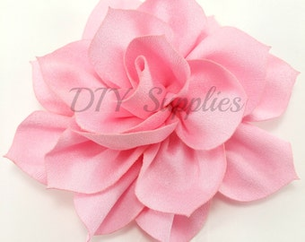 "3"" Pink lotus fabric flower - Rose flower for headbands - Wedding hair clip flower - Wholesale chiffon flowers - Large pink flowers"
