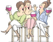 "Art Impressions  Girlfriends Cling Rubber Stamp ~ Wine Tasters, 3.25""X2.75"" U4387"