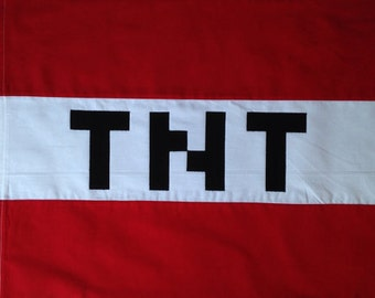 "TNT Pillowcase! Pixel font, block gamer Standard size bedding for kids, adults, birthdays! COTTON Pixel ""N"" :)"