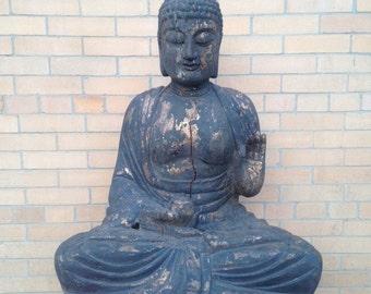 Extra Large Antique Buddha Statue, Gyan Mudra, Vintage Burma Buddha Buddah statue, Indonesian statue, Praying Bali Buddha, Meditating Buddha