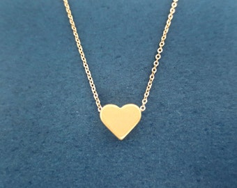 Simple, Gold, Heart, Love, Necklace, Cute, Minimal, Love, Necklace, Friendship, Best friend, Gift, Birthday, Gift, Jewelry