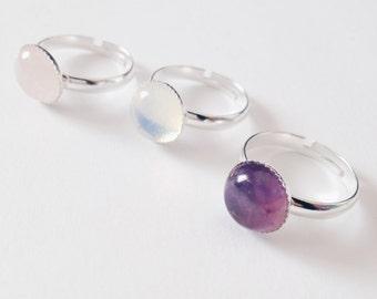 Gemstone Ring   Rose quartz   Amethyst   Opalite   Gift   Lolita   Harajuku   Pastel   Boho Jewelry