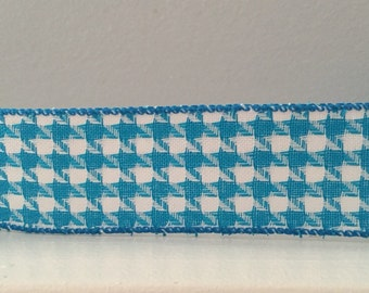 "Houndstooth Ribbon- 1.5"" Extra- Aqua Houndstooth Wide Ribbon- Wire-Edge - 1 Yard"