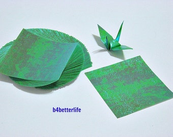 "100 Sheets 3"" x 3"" Green Color DIY Chiyogami Yuzen Paper Folding Kit for Origami Cranes ""Tsuru"". 3""x3"". (TX paper series). #CRK-66."