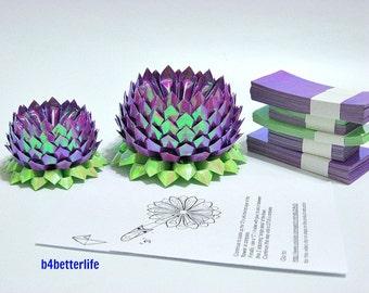 464 sheets of Purple Color Papers Kit For Making 4pcs of Origami Lotus In 2 Different Sizes. (AV paper series). #AV464-7.